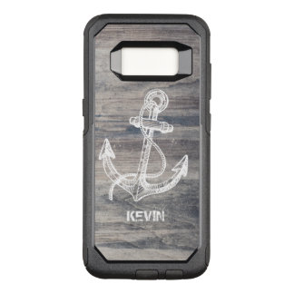 Aged Gray Wood Texture White Boat Anchor OtterBox Commuter Samsung Galaxy S8 Case
