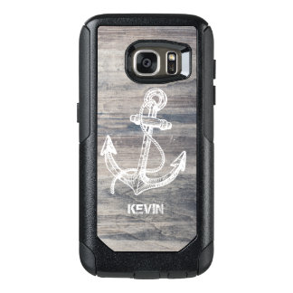 Aged Gray Wood Texture White Boat Anchor OtterBox Samsung Galaxy S7 Case