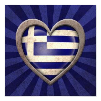 Aged Greek Flag Heart with Light Rays Custom Invites