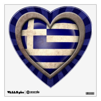 Aged Greek Flag Heart with Light Rays Wall Sticker