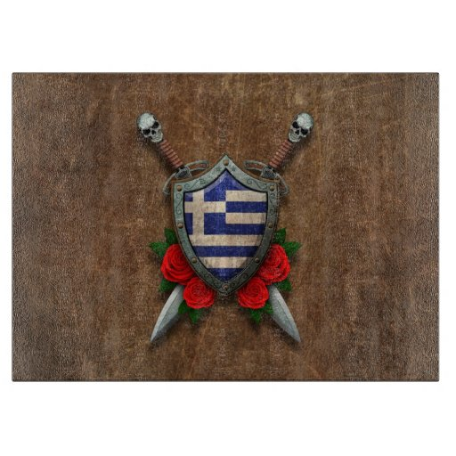 Aged Greek Flag Shield and Swords with Roses Cutting Boards