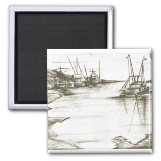 Aged Harbour 2 Inch Square Magnet