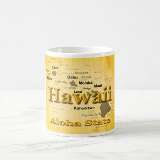 Aged Hawaii State Pride Map Silhouette Mugs