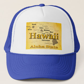 Aged Hawaii State Pride Map Silhouette Trucker Hat