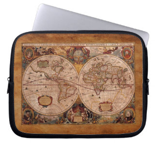 Aged Henricus Hondius' 1630 AD Old World Map Computer Sleeve