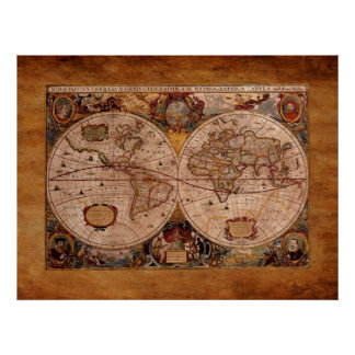 Aged Henricus Hondius' 1630 AD Old World Map Poster