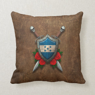 Aged Honduras Flag Shield and Swords with Roses Throw Pillows