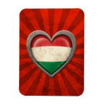 Aged Hungarian Flag Heart with Light Rays Vinyl Magnets
