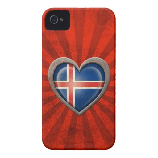 Aged Icelandic Flag Heart with Light Rays Case-Mate iPhone 4 Case
