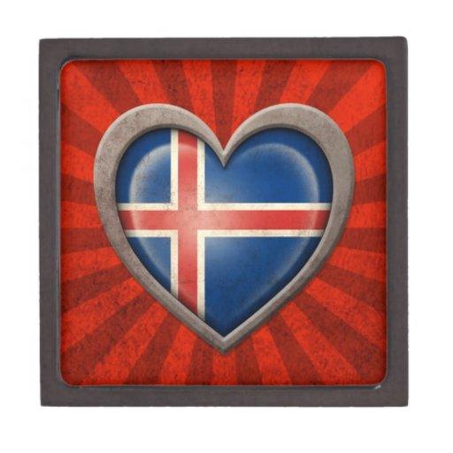 Aged Icelandic Flag Heart with Light Rays Premium Jewelry Box