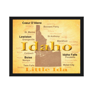 Aged Idaho State Pride Map Silhouette Canvas Print