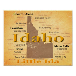 Aged Idaho State Pride Map Silhouette Poster