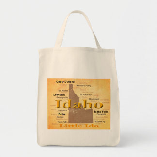 Aged Idaho State Pride Map Silhouette Tote Bag