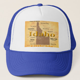 Aged Idaho State Pride Map Silhouette Trucker Hat