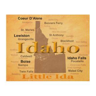 Aged Idaho State Pride Map Silhouette Wood Print