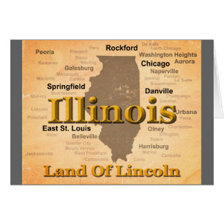 Aged Illinois State Pride Map Silhouette Card