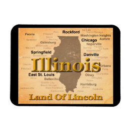 Aged Illinois State Pride Map Silhouette Magnet