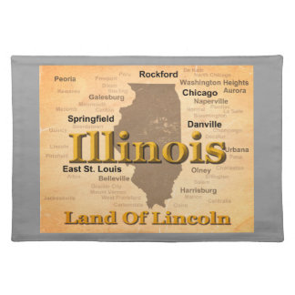 Aged Illinois State Pride Map Silhouette Place Mats