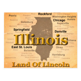 Aged Illinois State Pride Map Silhouette Postcard