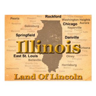 Aged Illinois State Pride Map Silhouette Postcard