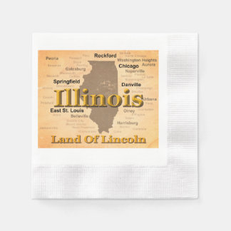 Aged Illinois State Pride Map Silhouette Disposable Napkins