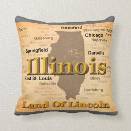 Aged Illinois State Pride Map Silhouette Throw Pillow