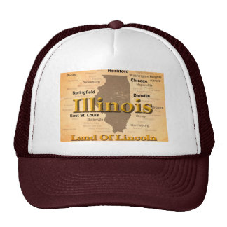 Aged Illinois State Pride Map Silhouette Trucker Hat