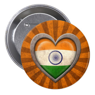 Aged Indian Flag Heart with Light Rays Button