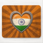 Aged Indian Flag Heart with Light Rays Mousepad