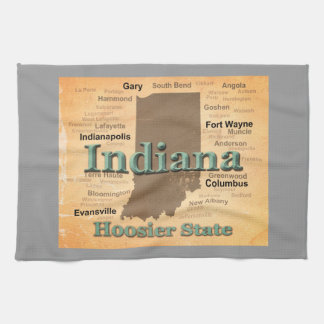 Aged Indiana State Pride Map Silhouette Kitchen Towel