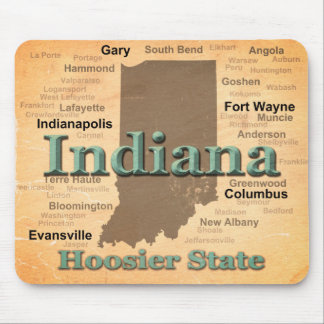 Aged Indiana State Pride Map Silhouette Mouse Pad