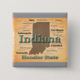 Aged Indiana State Pride Map Silhouette Pinback Button