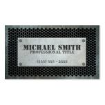 Aged Industrial Plate on Steel Mesh Effect Business Card