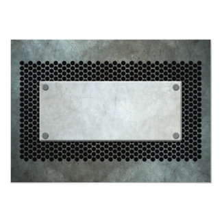 Aged Industrial Plate on Steel Mesh Effect Card