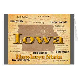 Aged Iowa State Pride Map Silhouette Greeting Card