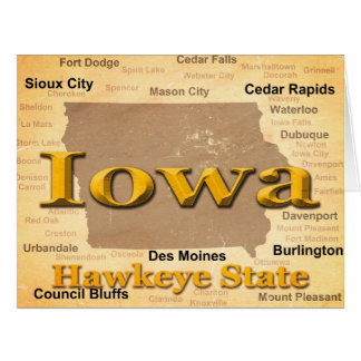 Aged Iowa State Pride Map Silhouette Large Greeting Card