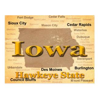 Aged Iowa State Pride Map Silhouette Postcard