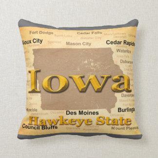 Aged Iowa State Pride Map Silhouette Throw Pillow