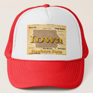 Aged Iowa State Pride Map Silhouette Trucker Hat
