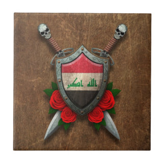 Aged Iraqi Flag Shield and Swords with Roses Tile