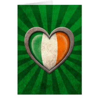 Aged Irish Flag Heart with Light Rays Greeting Card