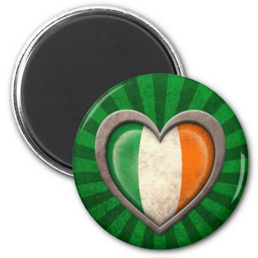 Aged Irish Flag Heart with Light Rays Magnet