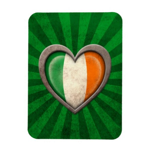 Aged Irish Flag Heart with Light Rays Rectangular Magnet