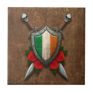 Aged Irish Flag Shield and Swords with Roses Tile