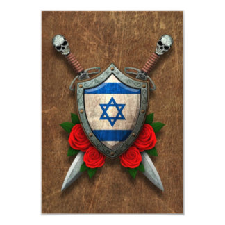 Aged Israeli Flag Shield and Swords with Roses 3.5x5 Paper Invitation Card