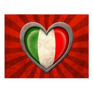 Aged Italian Flag Heart with Light Rays Postcard