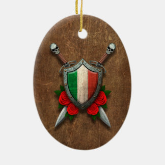 Aged Italian Flag Shield and Swords with Roses Double-Sided Oval Ceramic Christmas Ornament