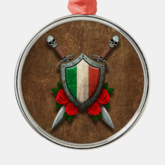 Aged Italian Flag Shield and Swords with Roses Round Metal Christmas Ornament