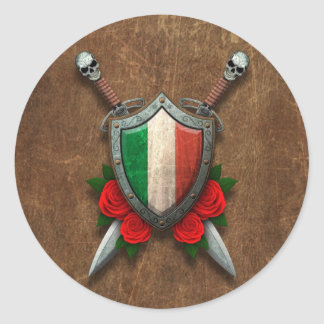 Aged Italian Flag Shield and Swords with Roses Round Sticker