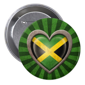 Aged Jamaican Flag Heart with Light Rays 3 Inch Round Button